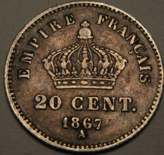 France 20 Centimes 1867a - Silver - Napoleon Iii.  - Vf - 1299 猫 photo