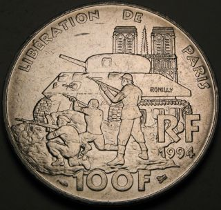 France 100 Francs 1994 - Silver - Liberation Of Paris - Aunc - 1305 猫 photo