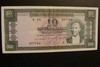 Turkey 10 Lirasi 1930 (1960) Crisp photo
