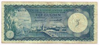 1962 Netherlands Antilles 5 Gulden Note - P1a photo