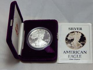 1988 - S American Silver Eagle Dollar Proof Coin W/ Capsule Case photo