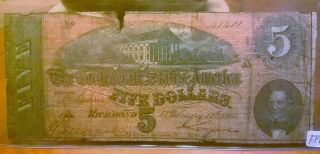 1864 $5 Confederate Currency - Authentic Civil War Note - Richmond Virginia photo