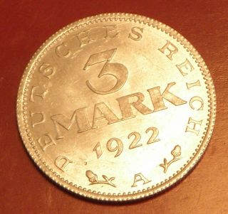 Germany,  Weimar 3 Mark 1922 A Coin photo