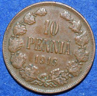Finland 10 Pennia 1916 Km 14 Grand Duchy Of Russia Tsar Nikolaj Ii photo