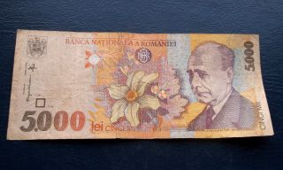 1998 National Bank Romania 5000 Lei Banknote Pick 107 Lucian Blaga Issue M32 photo