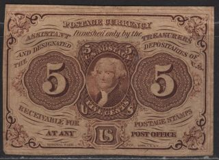 Us Postage Currency 13 Vg,  5 Cent Creases,  Thins photo