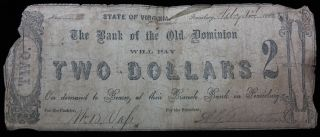 1862 $2 Dollar Confederate Bill Note Paper Currency Civil War Money photo