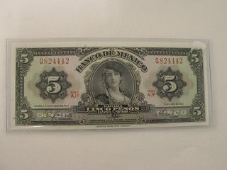 Mexico 1963 5 Peso Note Called The (gypsy) Crips Uncirculated photo