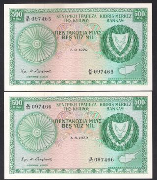 Cyprus 1979 500 Mils Two (2) Banknote Crisp Perfect Unc.  Consecutive Numbers photo