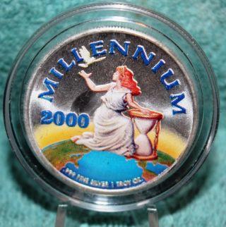 Millennium 2000.  999 Fine Silver Round 20$ Liberia Coin photo
