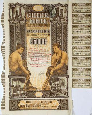 Romania Bucharest Registered Shares Mining Company Stock Bond 1938 5000 Lei photo