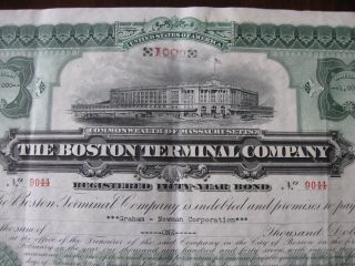 The Boston Terminal Company Registered 50 Year Bond No.  9044 1897 photo