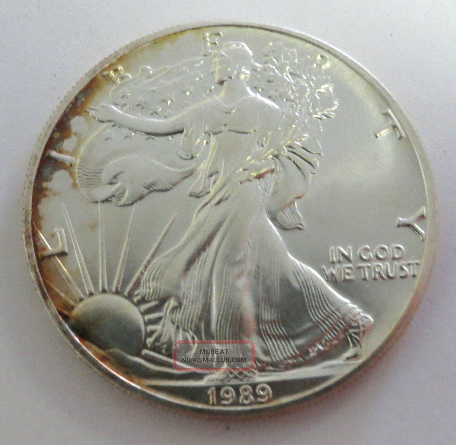 1989 Silver American Eagle 1 Ozt 999 Fine Silver Coin