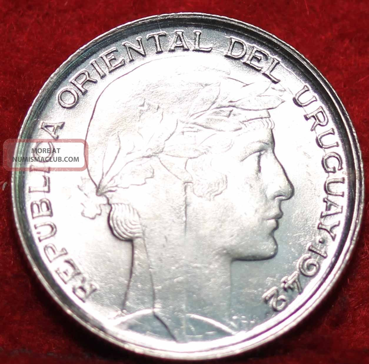 Uncirculated 1942 Uruguay 20 Centimos Silver Foreign Coin S/h South America photo
