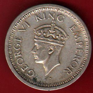 British India - 1944 - One Rupee - Kg Vi - Bombay - Rare Silver Coin Q - 29 photo