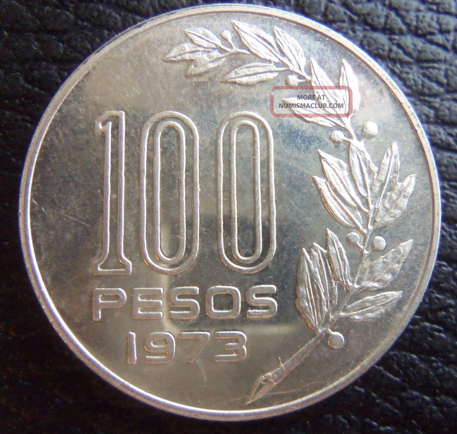 Uruguay 1973 Silver Essay 100 Pesos Coin South America photo