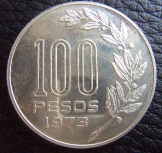 Uruguay 1973 Silver Essay 100 Pesos Coin photo