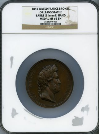 1845 France Bronze Medal Orleans Statue Ngc Ms - 65 (louis Philippe I) photo