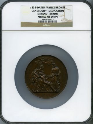 1832 France Bronze Medal Generosity Ngc Ms - 66 (louis Philippe I) photo