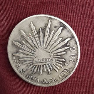 1891 - Cnds Mexico 8 Reales Silver Foreign Coin photo