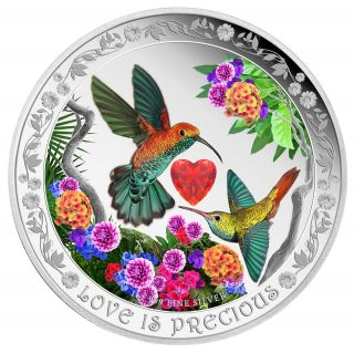 2016 Niue Love Is Precious - Hummingbirds 1 Oz Silver Coin photo