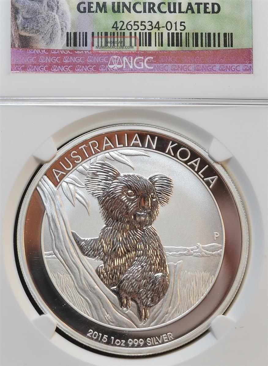 2015 P Australian Koala 1 Oz Silver Coin Ngc Gem