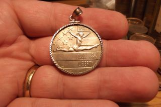 1992 Olympic Games Gymnast In Motion Copper Nickel Half Dollar In Sterling Bezel photo