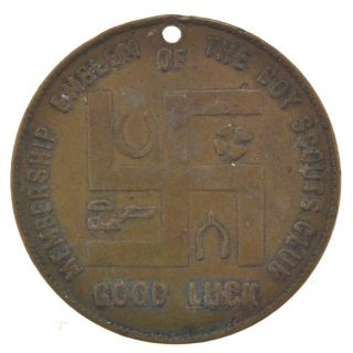 The Boy Scouts Club Good Luck Token With Swastika Portsmouth,  Ohio J - 157 photo