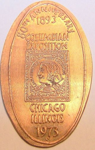Rog - 96: Vintage Elongated Cent: 80th Anniversary / 1893 Columbian Exposition photo