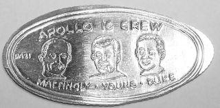 Ada - 28: Vintage Elongated Silver Dime: Apollo 16 Crew - Mattingly - Young - Duke photo
