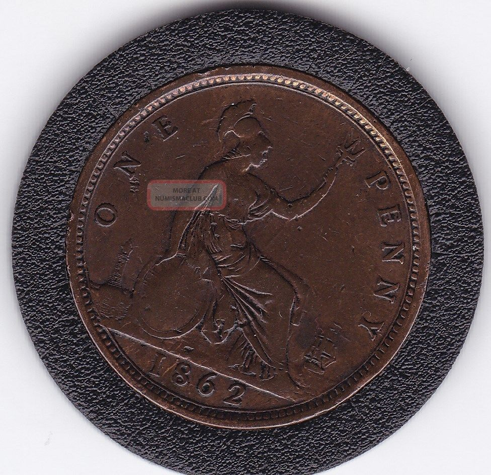 1862 Queen Victoria Large One Penny 1d Bronze Coin