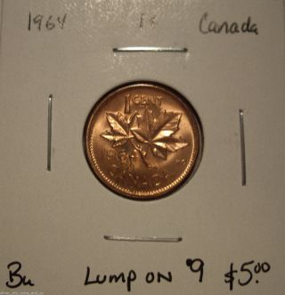 Canada Elizabeth Ii 1964 Lump On 9 Small Cent - Bu photo