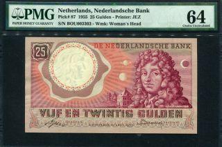 Netherlands 1955,  25 Gulden,  P87,  Pmg 64 Unc photo