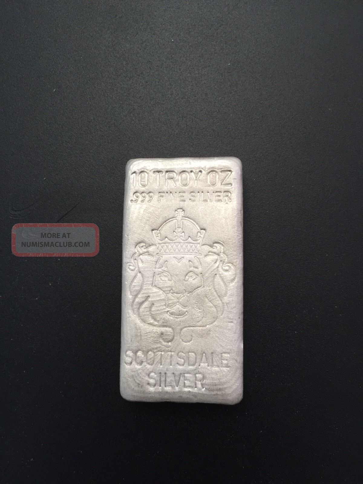 10 Oz Hand Poured Scottsdale 999 Silver Bar Scootsdale The One 1oz