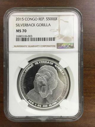 2015 Congo Silverback Gorilla Ngc Ms 70 1 Oz Silver Coin 5000 Francs photo
