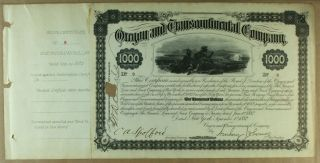S1111 Oregon & Transcontinental Company 1882 Bond Certificate Gray photo