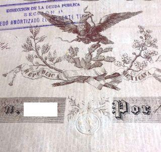 Mexico 1843 Black Eagle Tesoreria General 1000 Pesos Scarce,  Pass - Co Bond Loan photo