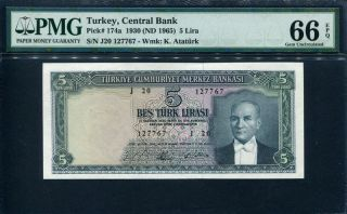 Turkey 1930 (1965),  5 Lira,  P174a,  Pmg 66 Epq Gem Unc photo