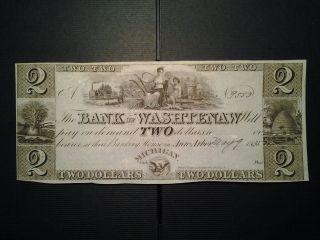 1835 $2 Bank Of Washtenaw Michigan photo
