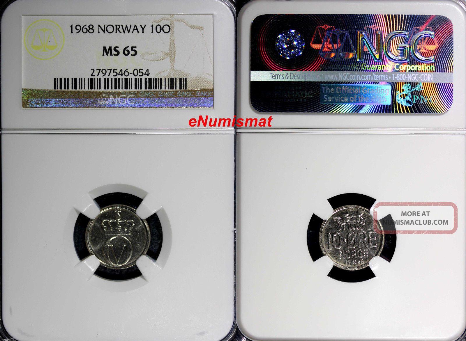 Norway Olav V 1968 10 Ore Ngc Ms65 Honey Bee Top Graded Coin Km 411 Europe photo