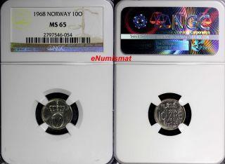 Norway Olav V 1968 10 Ore Ngc Ms65 Honey Bee Top Graded Coin Km 411 photo