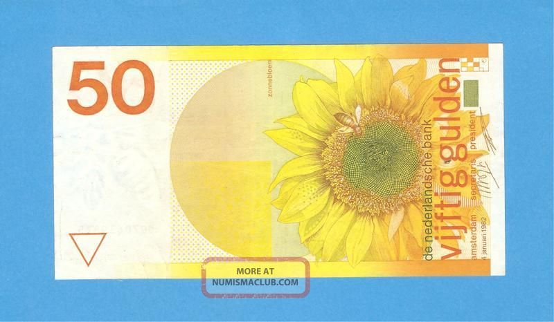 netherlands 50 gulden 1982 - edition i - rare - aunc - authentic