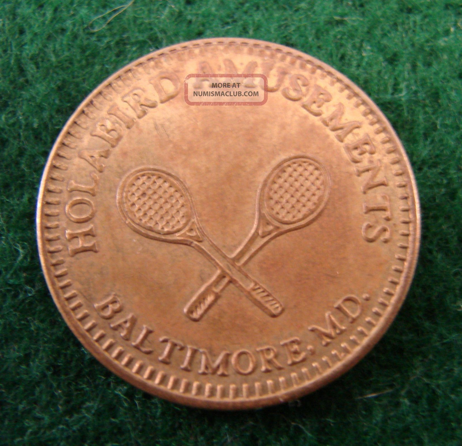 Brass Token - Holabird Amusements,  Baltimore,  Md.  - Crossed Tennis Racquets Exonumia photo