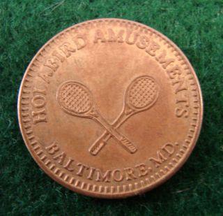 Brass Token - Holabird Amusements,  Baltimore,  Md.  - Crossed Tennis Racquets photo
