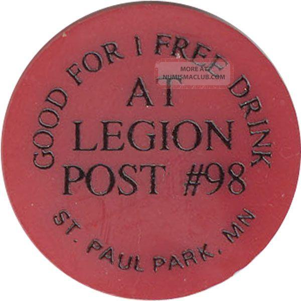 Legion Post 98 - Good For 1 Drink Exonumia photo
