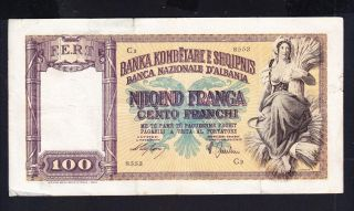 1939 Albania Paper Money,  100franga.  Italy Occupation photo