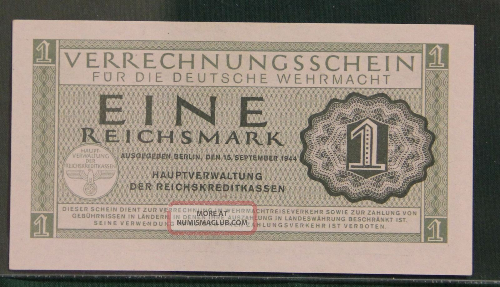 P  M38  Uncirculated Banknotes 1  REICHSMARK  1944 GERMANY