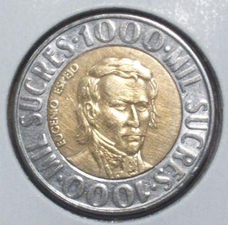 1996 Ecuador 1000 Sucres,  Bi - Metallic Coin 41 photo