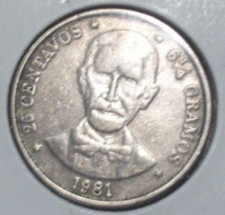Dominican,  25 Centavoss 1981,  6 1/4 Gramos Coin 47 photo