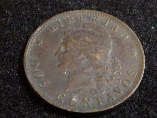 Argentina 1892 2 Dos Centavos Coin photo
